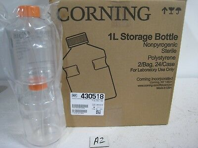 NEW Corning Storage Bottle 24 Case 1L Polystyrene Sterile 430518