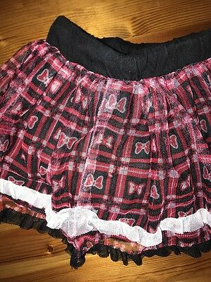 Disney Toddler sz 18 months Black and Red Plaid Skort Minnie's Bows Ruffles Lace