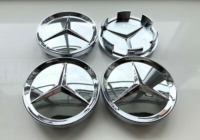 4x CHROME Wheel Centre Caps for Mercedes-Benz 64 MM outer ,55 mm clips diameter