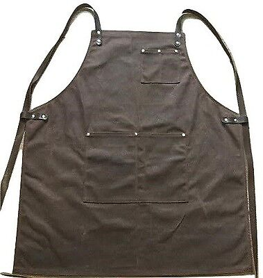 LOT of 10 Craftsmans Guild Waxed Canvas Heavy Duty Aprons-Shop Utility Tool Wood