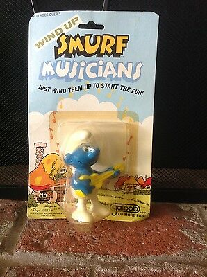 Vintage 1982 Smurf Musicians Wind Up Toy IOP Galoob Non Working Condition