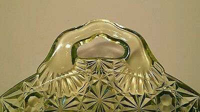 Vaseline Uranium Daisy & Button Glass Oval Tray With Handles 13.5 Inches