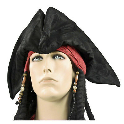 Adult Men's Captain Hook Jack Sparrow Tri-Corn Black Cosplay Costume Pirate Hat