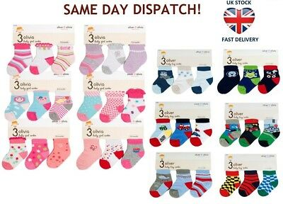BABY BOY GIRL SOCKS 3 PAIRS NEWBORN ANKLE 36 Assorted Designs 0-6 Months