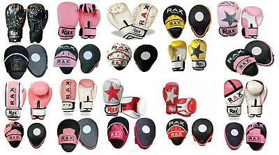 Kids Boxing Gloves And Pads Curved Focus Pad Hook and Jab Punch Bag Kick MMA RAX