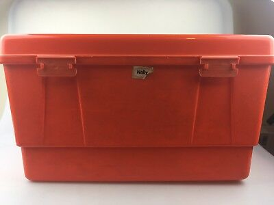 Vintage Nally Sewing With Tray Insert - Orange - Brand Stick On Front