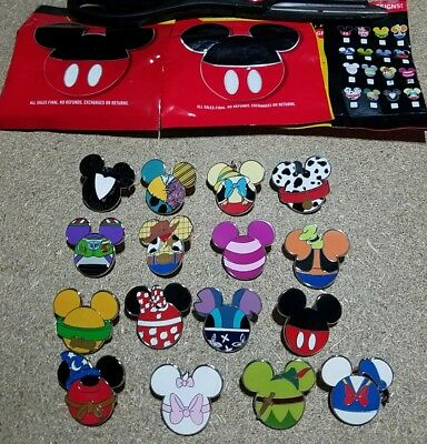 Disney Pins Mickey Icons Mystery Series Complete Set 16 AUTHENTIC FREE SHIPPING