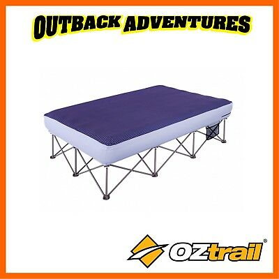 Oztrail Anywhere Bed Queen - Blue Camp Camping Bedding Inflatable Air Mattress