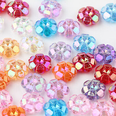 50/100Pcs Colorful Mixed Loose Beads Flower Jewelry Making Findings Plastic
