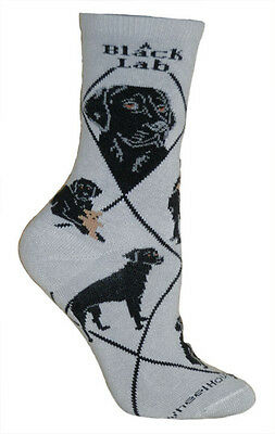 Labrador Retriever Black Dog Breed Gray Lightweight Stretch Cotton Adult Socks