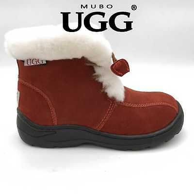 SW1508-BRICKRED Mubo UGG Kids Boots TPR Sole Chestnut Colour Size 30~34