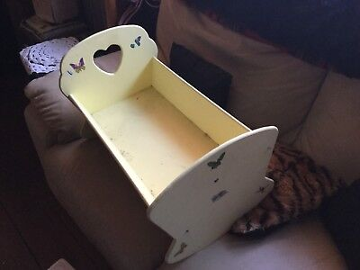 Dolls Rocking Cradle Wooden Lemon Colour Good Condition