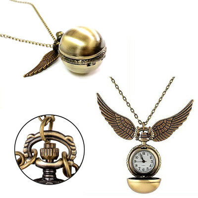 Harry Potter Gold Snitch Pocket Watch Clock Pendant Necklace Steampunk Wings New
