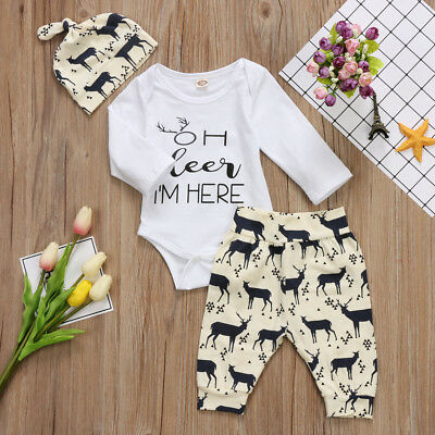 AU Stock 3PCS Toddler Baby Boys Girls Romper Long Pants Outfits Clothes Set