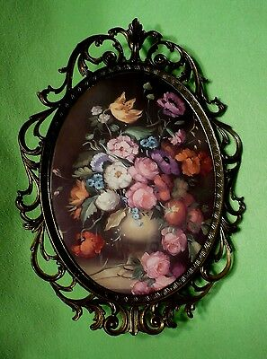 Vintage Italian CONVEX GLASS metal frame w/colorful flower bouquet print. 12.5 ""