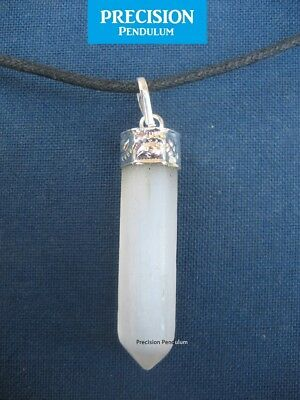 Selenite Crystal Point Pendant with Cord Necklace and Silver Binding Healing
