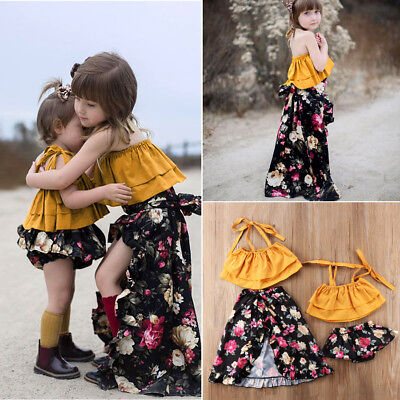 AU Stock Toddler Baby Kids Girls Sisters Floral Tops Shorts Dress Outfits Set