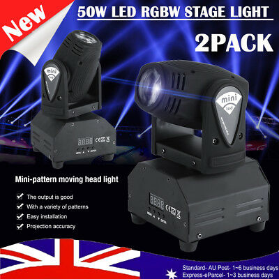 2X 4 in 1 50W RGBW LED Moving Head Beam Stage Light DMX512 Disco Party Show Club