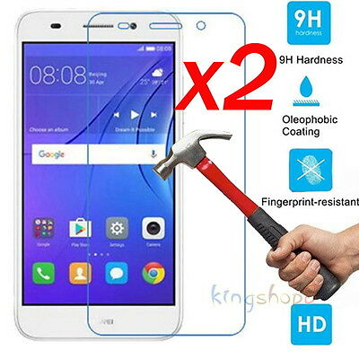 2Pcs Premium Real Tempered Glass Screen Protector For Huawei Y3 Y5 Y6 Y7 2017