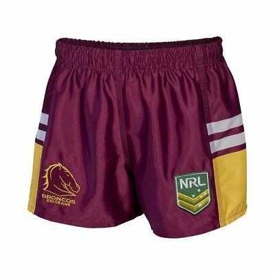 Brisbane Broncos NRL Kids Supporter Shorts BNWT Rugby League Footy Clothing