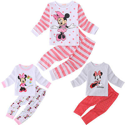 Kids Girls Baby Clothes Minnie Mouse Cotton Pajama Set Sleepwear T-shirt+Pants