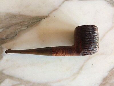 Vintage 1960's Pipe Unmarked Carved Wood bowl Smoking Tobacco Plastic Stem part