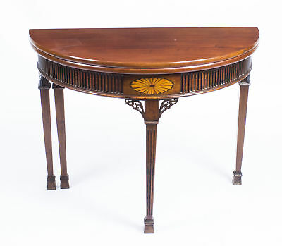 Antique Edwardian Inlaid Demi Lune Card Console Tea  Table  Late 19th C