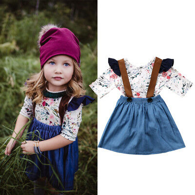 AU Stock 2Pcs Cute Kids Baby Girl Floral Romper+Suspender Dress Overalls Outfits