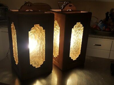mid century Hanging Swag Light Lamp Amber Glass wood foyer pull chain mcm oak