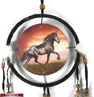 "6.5"" Black Horse Dream Catcher With Beads,Fur & Feathers Wall Decoration"