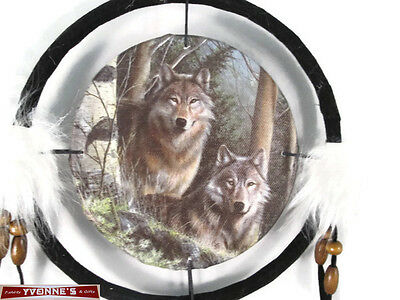 "6.5"" Wolfs In Pines Dream Catcher With Beads,Fur & Feathers Wall Decoration"