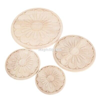 Unpainted Round Wood Carved Applique Frame Onlay Cabinet Furniture Decoration