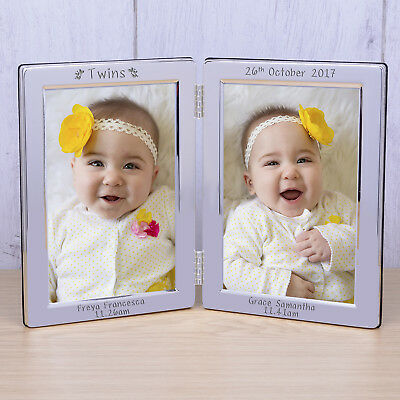 Personalised Twins Double Photo Frame Silver Frame Baby Frame Newborn Gift idea