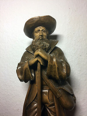 Antique vintage wooden hand carved Patron Saint Isidor as Farmer statue figurine