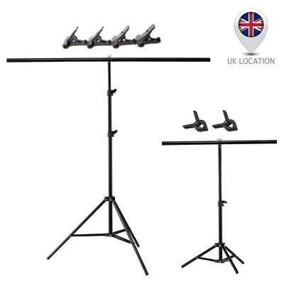 T Backdrop Stand Metal PVC Background Photography Support System + Clamp UK