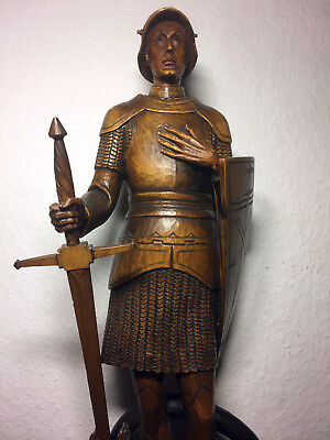 Rare Fine Antique German Vintage wooden hand carved Saint George & Dragon statue