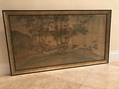 Outstanding Large Chinese Watercolor On Silk - Signed and Framed