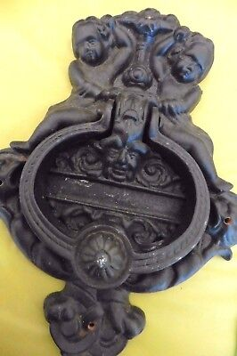 "Large Cast Iron Door Knocker with Cherubs Angels & Relief Mask Face 10"" Vintage"