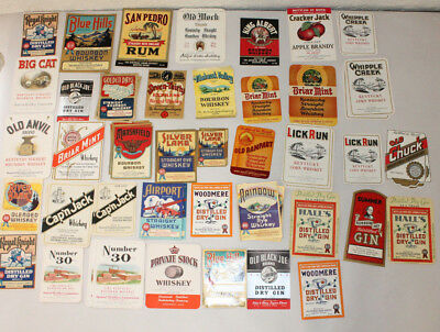 Lot of 65 Vintage Original Liquor Labels Rum Whiskey Gin