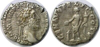 177-192 AD Roman Empire Commodus Genuis Sacraficing Silver Denarius