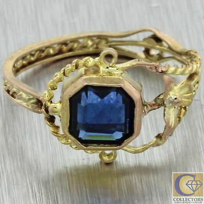 1920s Antique Art Deco Nouveau Estate 10k Yellow Gold Blue Sapphire Cocktail Rin
