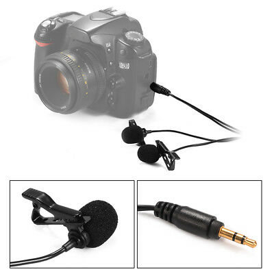 Lavalier Mic Lapel Microphone Dual Headed Clip-on for DSLR Cam Camcorder LF801