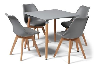 d08ad4b49213 Toulouse Tulip Eiffel Style Dining Set 80cms Square Grey Table   4 Grey  Chairs