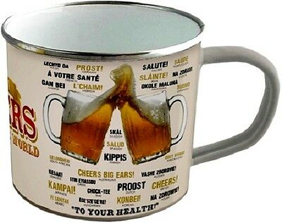 How to say Cheers around the World Blechtasse Emaille Becher Tasse 8 x 8 cm