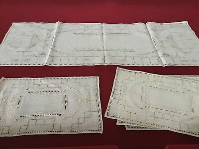 Vintage Linen Napkins Placemats & Table Runner Embroidered Beauty