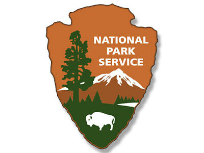 2x3 inch NATIONAL PARKS SERVICE Arrowhead Shaped Logo Sticker  - camp hike fish