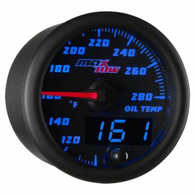 MaxTow 52mm Black & Blue  Double Vision Oil Temperature Gauge - MT-BDV07
