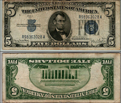 1934D $5 Great Silver Certificate Blue Seal Great Piece Of History Lotj715