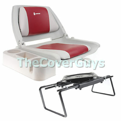 Boat Seat Package - Boat Seat +  Bench Seat Clamp + Caddy Grey/Red