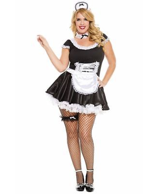 New Music Legs 70133Q Plus Size Lace Trimmed French Maid Costume